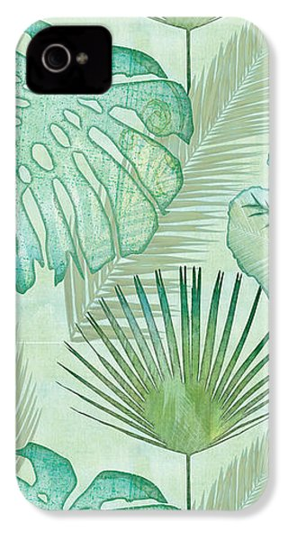 Rainforest Tropical - Elephant Ear And Fan Palm Leaves Repeat Pattern IPhone 4 Case by Audrey Jeanne Roberts