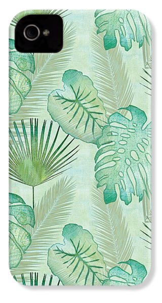 Rainforest Tropical - Elephant Ear And Fan Palm Leaves Repeat Pattern IPhone 4 / 4s Case by Audrey Jeanne Roberts