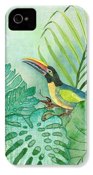Rainforest Tropical - Tropical Toucan W Philodendron Elephant Ear And Palm Leaves IPhone 4 Case by Audrey Jeanne Roberts