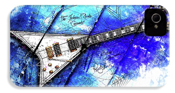 Randy's Guitar On Blue II IPhone 4 / 4s Case by Gary Bodnar