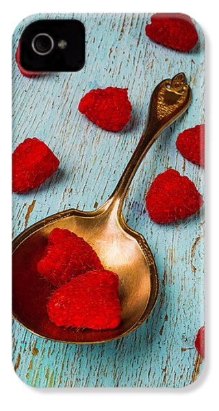 Raspberries With Antique Spoon IPhone 4 / 4s Case by Garry Gay