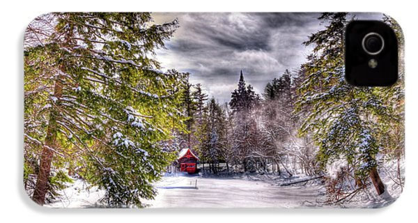 IPhone 4 Case featuring the photograph Red Boathouse After The Storm by David Patterson
