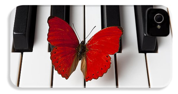 Red Butterfly On Piano Keys IPhone 4 Case