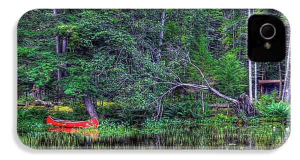IPhone 4 Case featuring the photograph Red Canoe Among The Reeds by David Patterson
