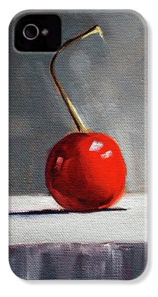 IPhone 4 Case featuring the painting Red Cherry by Nancy Merkle