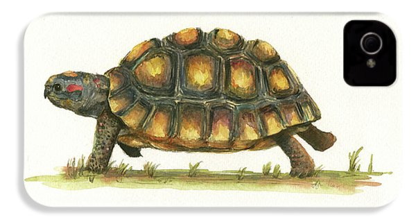 Red Footed Tortoise  IPhone 4 Case by Juan Bosco