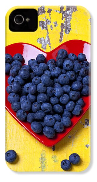 Red Heart Plate With Blueberries IPhone 4 Case by Garry Gay