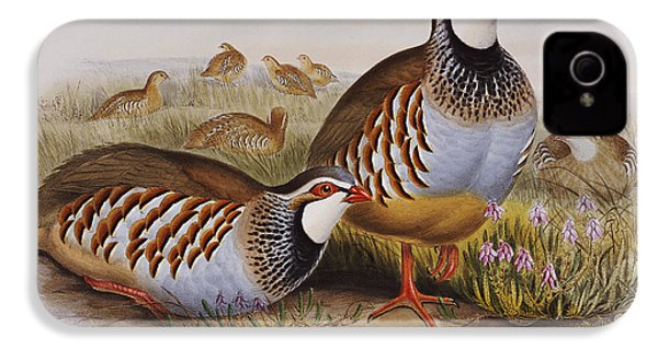 Red-legged Partridges IPhone 4 Case by John Gould