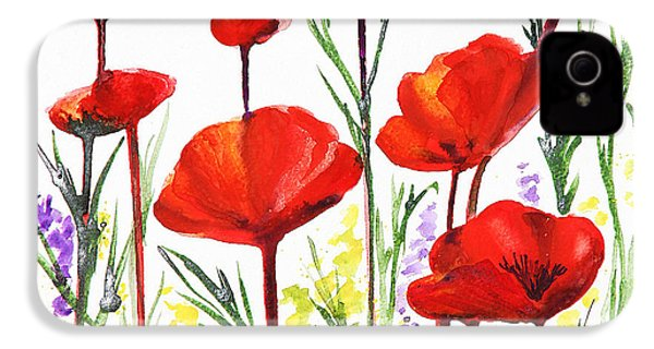 IPhone 4 Case featuring the painting Red Poppies Art By Irina Sztukowski by Irina Sztukowski