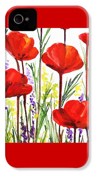 IPhone 4 Case featuring the painting Red Poppies Watercolor By Irina Sztukowski by Irina Sztukowski