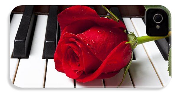 Red Rose On Piano Keys IPhone 4 Case by Garry Gay