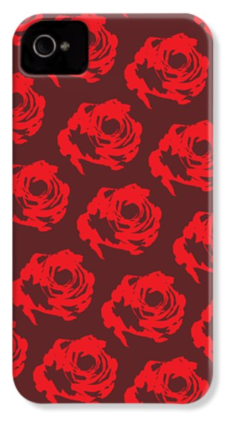 Red Rose Pattern IPhone 4 Case by Cortney Herron