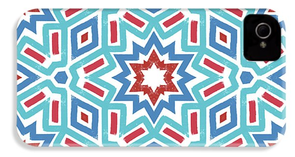 Red White And Blue Fireworks Pattern- Art By Linda Woods IPhone 4 / 4s Case by Linda Woods