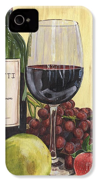Red Wine And Pear 2 IPhone 4 Case by Debbie DeWitt