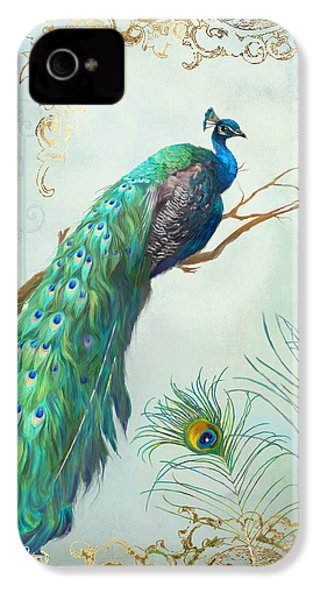 Regal Peacock 1 On Tree Branch W Feathers Gold Leaf IPhone 4 / 4s Case by Audrey Jeanne Roberts