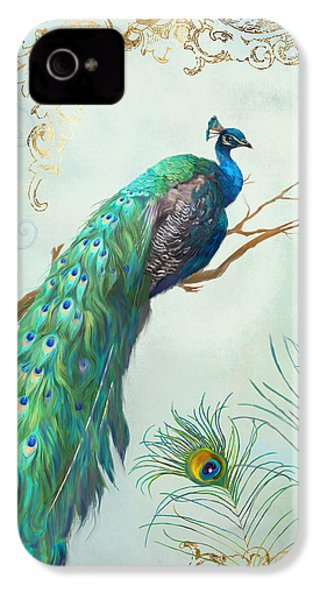 Regal Peacock 1 On Tree Branch W Feathers Gold Leaf IPhone 4 Case by Audrey Jeanne Roberts
