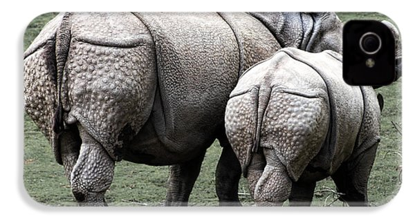 Rhinoceros Mother And Calf In Wild IPhone 4 / 4s Case by Daniel Hagerman