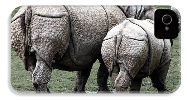 Rhinoceros Mother And Calf In Wild IPhone 4 Case