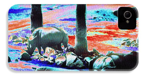 Rhinos Having A Picnic IPhone 4 Case by Abstract Angel Artist Stephen K