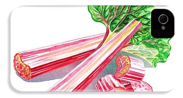 IPhone 4 Case featuring the painting Rhubarb Stalks by Irina Sztukowski