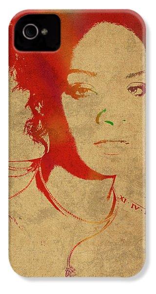 Rihanna Watercolor Portrait IPhone 4 Case by Design Turnpike