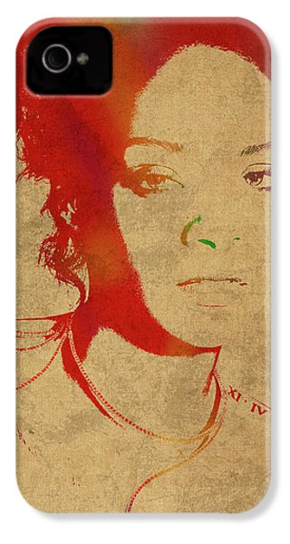 Rihanna Watercolor Portrait IPhone 4 Case