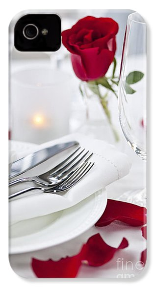 Romantic Dinner Setting With Rose Petals IPhone 4 Case