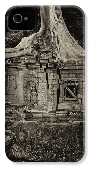 IPhone 4 Case featuring the photograph Roots In Ruins 5, Ta Prohm, 2014 by Hitendra SINKAR