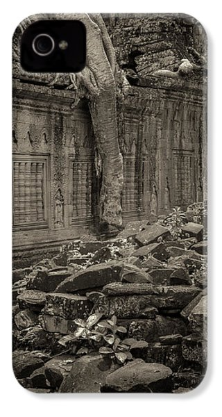 IPhone 4 Case featuring the photograph Roots In Ruins 6, Ta Prohm, 2014 by Hitendra SINKAR