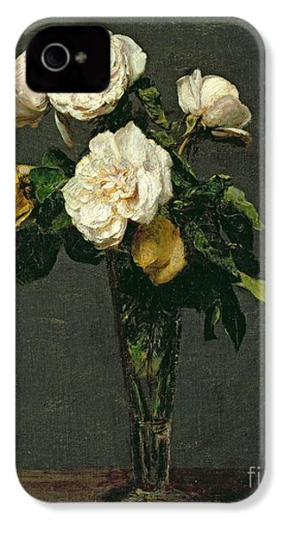 Roses In A Champagne Flute IPhone 4 Case by Ignace Henri Jean Fantin-Latour