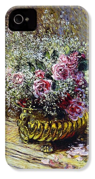 Roses In A Copper Vase IPhone 4 Case by Claude Monet