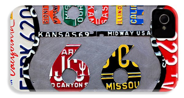 Route 66 Highway Road Sign License Plate Art IPhone 4 Case by Design Turnpike