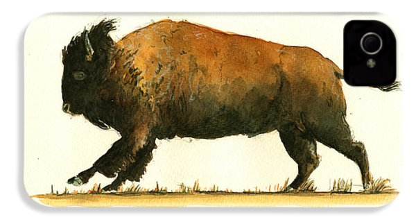 Running American Buffalo IPhone 4 / 4s Case by Juan  Bosco