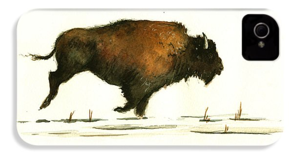 Running Buffalo IPhone 4 / 4s Case by Juan  Bosco