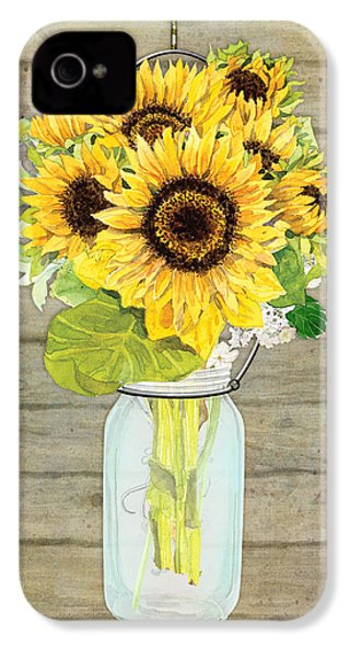 Rustic Country Sunflowers In Mason Jar IPhone 4 Case by Audrey Jeanne Roberts