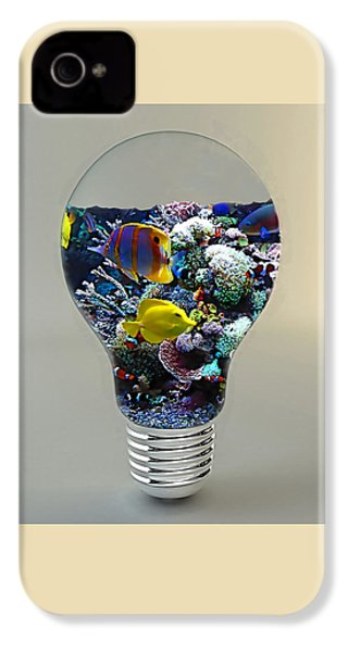 Saltwater Aquarium Light Bulb IPhone 4 / 4s Case by Marvin Blaine