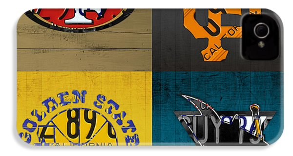 San Francisco Sports Fan Recycled Vintage California License Plate Art 49ers Giants Warriors Sharks IPhone 4 Case