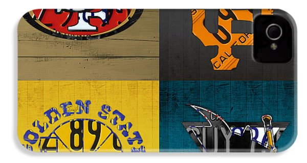 San Francisco Sports Fan Recycled Vintage California License Plate Art 49ers Giants Warriors Sharks IPhone 4 Case by Design Turnpike