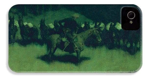 Scare In A Pack Train IPhone 4 Case by Frederic Remington