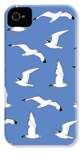 Seagulls Gathering At The Cricket IPhone 4 Case by Elizabeth Tuck