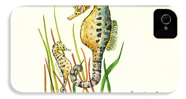 Seahorse Mom And Baby IPhone 4 / 4s Case by Juan Bosco