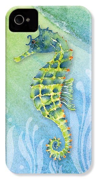 Seahorse Blue Green IPhone 4 Case by Amy Kirkpatrick