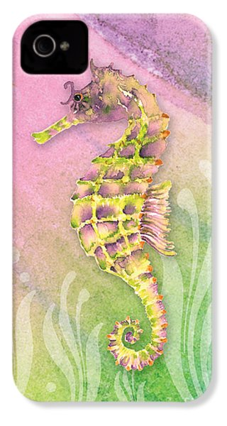 Seahorse Violet IPhone 4 Case by Amy Kirkpatrick