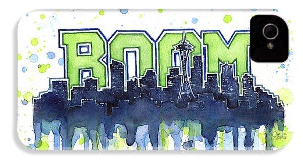 Seattle 12th Man Legion Of Boom Watercolor IPhone 4 / 4s Case by Olga Shvartsur