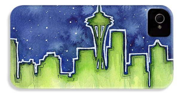 Seattle Night Sky Watercolor IPhone 4 / 4s Case by Olga Shvartsur