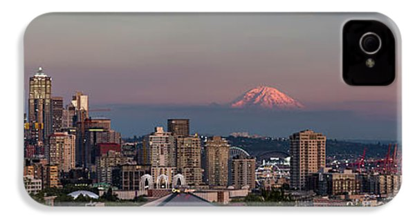 IPhone 4 Case featuring the photograph Seattle Skyline And Mt. Rainier Panoramic Hd by Adam Romanowicz
