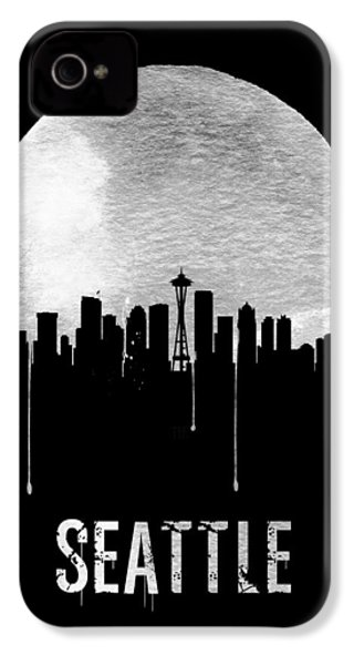 Seattle Skyline Black IPhone 4 / 4s Case by Naxart Studio