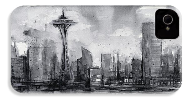 Seattle Skyline Painting Watercolor  IPhone 4 / 4s Case by Olga Shvartsur