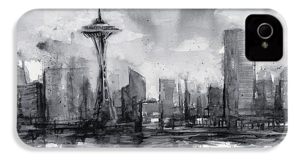 Seattle Skyline Painting Watercolor  IPhone 4 Case