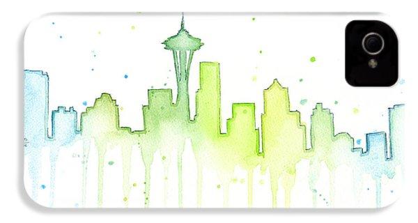 Seattle Skyline Watercolor  IPhone 4 Case by Olga Shvartsur